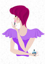 Coquettish girl with bright hair paint her lips in a purple dress and Stock Images