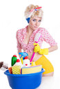 Coquettish pinup woman with cleaning set Royalty Free Stock Photo