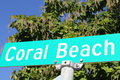 Coral beach resort street sign signs are popular at resorts this shows blue and white graphics Royalty Free Stock Images