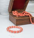 Coral beaded bracelet Royalty Free Stock Photo