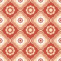 Coral and beige floral seamless pattern this is file of eps format Stock Photography