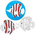 Coral fish striped tropical three versions of the vector illustration in a cartoony style Stock Photography
