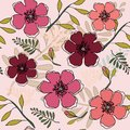 Coral, Peach & Red Flowers in Seamless Pattern in Vector