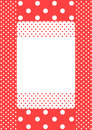 Coral polka dots frame card invitation or tag with Stock Photography