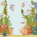 Coral reef illustration with sea anemones and fishes Stock Photos