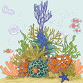 Coral reef illustration with sea anemones and fishes Stock Photography