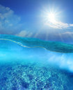 Coral reef under deep blue sea water and sun shining over sky Royalty Free Stock Photo