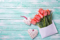 Coral tulips in white envelope and two white decorative hearts Royalty Free Stock Photo