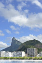 Corcovado mountain in rio de janeiro with christ redeemer Stock Photo