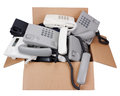Corded phones consign to the past concept. Royalty Free Stock Photo