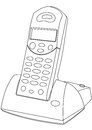 Cordless phone contour outline illustration Royalty Free Stock Photography