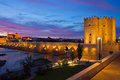 Cordoba river bank at night spain old roman bridge and tower calahora andalusia Stock Photos