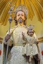 Cordoba st joseph traditional vested statue in church eremita de nuestra senora del socorro on side altar from cent by juan morilo Stock Photography
