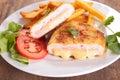 Cordon bleu and french fries closeup on Royalty Free Stock Photo