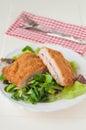 Cordon bleu with healthy salad Royalty Free Stock Photography