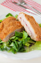 Cordon bleu with healthy salad Royalty Free Stock Images