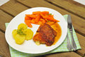 Cordon bleu schnitzel with carrots and potatoes Stock Images