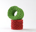 Cords red and green roll Royalty Free Stock Photo