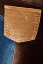 Corduroy and jeans fabric textures Stock Photos