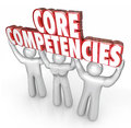 Core competencies people lift words competitive advantage uniq in red d letters held by three workers employees or staff to show Stock Images