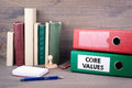 Core Values. Binder on desk in the office. Business backgroundr