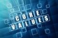 Jadro hodnoty v modrý sklo bloky