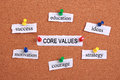Core values concept paper words are pinned on cork Royalty Free Stock Photography