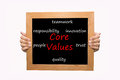 Core values hand write word concept Stock Images