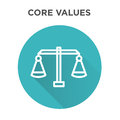 Core Values Icon with Scale and Balance icon