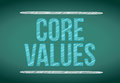 Core values message written on a chalkboard illustration design Stock Image