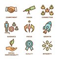 Core Values Outline / Line Icon Conveying Integrity - Purpose