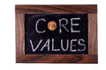 Core values phrase white chalk handwriting Royalty Free Stock Photo