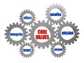 Core values in silver grey gears words d metal gear wheels business cultural riches concept Stock Photo