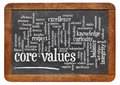 Core values word cloud on a vintage slate blackboard Stock Photos
