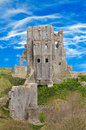 Corfe castle ancient in dorset uk on a great day Stock Image