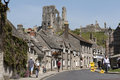 Corfe Castle famous ruins above the town in Dorset UK