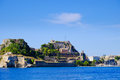 Corfu  fortress walls as seen from the sea panoramic shot. Royalty Free Stock Photo