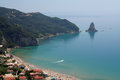 Corfu harbour in kerkyra a view of the the greek island of Royalty Free Stock Photos