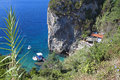 Corfu island in greece paleokastritsa beach at Royalty Free Stock Images