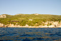 Corfu island greece seascape of coast and beaches in Royalty Free Stock Photography