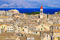 Corfu panorama over the old city and old clock tower Royalty Free Stock Photo