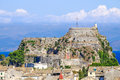 Corfu panorama over the old city. Venetian fortress in backgroun Royalty Free Stock Photo