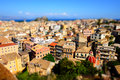 Corfu town panorama over the old city. Venetian fortress in back Royalty Free Stock Photo