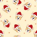 Corgi Santa Claus on Beige Ivory Background. Vector Illustration Royalty Free Stock Photo