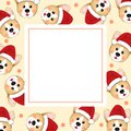 Corgi Santa Claus on Beige Ivory Banner Card. Vector Illustration Royalty Free Stock Photo