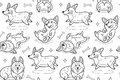 Corgi seamless pattern in outline. Funny background with cartoon dogs