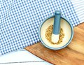Coriander seeds in pestle and mortar Royalty Free Stock Photo