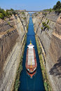 The corinth canal connects gulf of with saronic gulf in aegean sea Stock Image