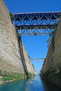 The corinth canal view from sea level and its bridge Stock Photos