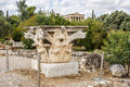 Corinthian capital in Agora Royalty Free Stock Photo